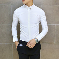 Premium Fashion Men Slim Fit Shirt with Pin Collar