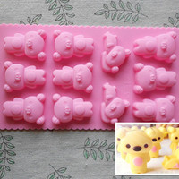 Rilakkuma Pooh Bear Silicone Cake Mold Handmade Mold Chocolate Mould Ice tray cube pudding mould handmade soap mold Baking tools 11 hole