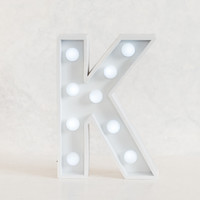 K Initial White Marquee Light