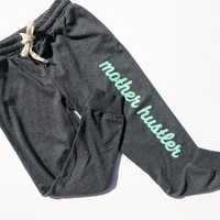 Mother Hustler Joggers - Charcoal w/ Mint Print
