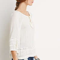 Crocheted Pintuck Peasant Top