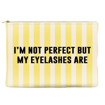 I'm not perfect but my eyelashes are - Striped Pouch (more colors)