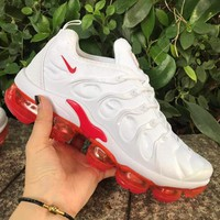 Nike Air VaporMax Plus White Red Running Shoes - Best Deal Online