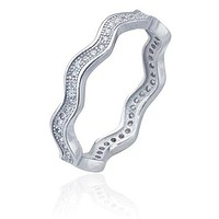 925 Sterling Silver Wavy Cz Stone Ring - Available in Sizes 6, 7, and 8