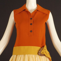 1960s Orange Wool Knit Blouse, Bust-36