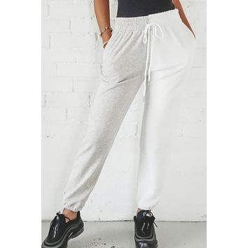 Waiting On You Gray And White Dual Toned Joggers