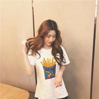 Women's Summer white loose round-necked short sleeve T-Shirt a13802