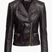 Black Collar Faux Leather Zipper Jacket
