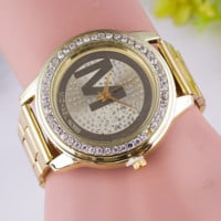 Chic Retro Metal Quartz Full Crystal Unisex Wristwatch + Nice Gift Box