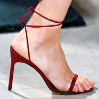 Lace Up Ankle Straps Wrap Open Toe Stiletto High Heels Sandals