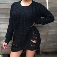 Ripped Design Long Sleeve Sweater Dress
