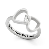 """Double Hearts Lovers Ring, Promise Ring Wedding Band Ring """"My Heart Forever Next to Yours"""" Engraved on Inside Best Gift for Friend or Loved"""