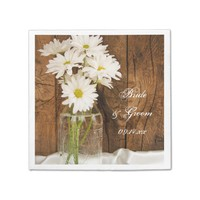 Mason Jar and White Daisies Barn Wedding Napkin