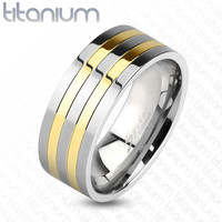 8mm Two Toned Silver and Gold IP Lines Solid Titanium Band Men's Ring