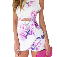 Floral Romper With Cut Out Details in White