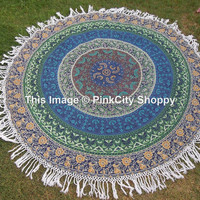 Round Mandala Tassle Fringe Beach Throw  Mandala Printed Cotton Table Cover Kitchen Table Cloth Roundie Yoga Mat Cover Wall Hanging Roundie