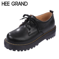 HEE GRAND British Style Women Oxfords Spring Winter Lace-Up Flats Round Toe Creepers Casual Ladies Platform Shoes Woman XWD2534
