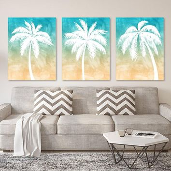PALM TREE Wall Art, Palm Tree CANVAS or Print Tropical Palm Tree Bedroom Pictures, Tropical Palm Tree Bathroom Decor Set of 3 Palm Tree Art