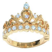 JewelsObsession's 14K Yellow Gold Princess Crown CZ Birthstone Ring
