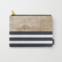 Navy stripe + wood Carry-All Pouch by Urban Exclaim Co.