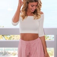 Dusty Rose Lace Up Shorts