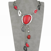 Red Turquoise & Silver Necklace