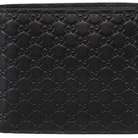 ca kuyou Gucci Men's Leather Micro GG Guccissima Bifold Wallet (Black)