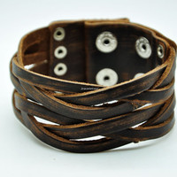 Real Brown Leather Woven Women Leather Cuff  Bracelet Men Leather Bracelet Unisex Fashion Bracelet 1562A