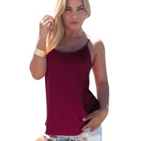 Sexy Spaghetti Strap Pure Color Criss-Cross Loose-Fitting Tank Top for Women