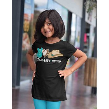 Kids Peace Love Rodeo Shirt Cowboy Hat T Shirt Rodeo Wild West Graphic Western Tee Turquoise Youth Unisex Girl's Soft Tee