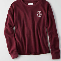 AEO Easy Graphic Fleece Sweatshirt, Burgundy