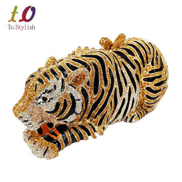 Animal Tiger Luxury Crystal Evening Bag Leopard Cocktail Party Purse Handbags Free Shipping Women Clutch bags Purse SC030
