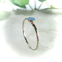 Stacking Ring Gold Chisled with 26 Blue Fire Opal