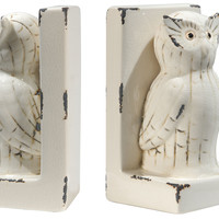 Pair of Owl Bookends, White, Bookends