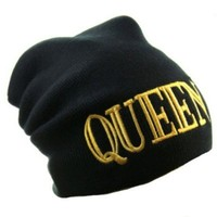 Okstar Queen Bold Letter Logo Black One Size Fashion Beanie Hat