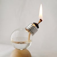 Mini Steampunk Recycled Light Bulb Oil Lamp on Natural Wood Half Dome Base (12-001)