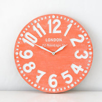 Faux Vintage clock -London coral- birch clock hand painted by happy fresh coral color