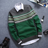 Slim Fitting Chevron Men's Comfortable Knitted Sweater Knitwear