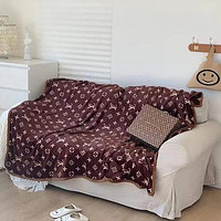 Louis Vuitton Hot Sale Full Printed Retro Blanket D Home Coral Fleece Thickening Blanket Adult Single Bed Blanket