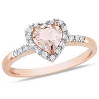 Amour Pink Gold Heart Cut Morganite Halo Ring
