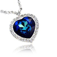 Large Titanic Blue Crystal Heart Pendant Necklace Made with Swarovski Elements