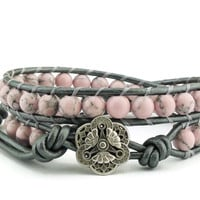 Leather Wrap Bracelet, Pink Howlite Gemstones, Pink and Gray Jewelry, Beaded Wrap Bracelet