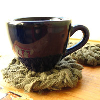 Knitted Coasters Olive Drab Army Green Circular Mug Rugs Mats Upcycled T Shirts Military Primitive (set of 2) -- US Shipping Included