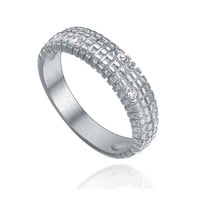 Stainless Steel Crystal and Rectangle Textured Ring - Silver Color