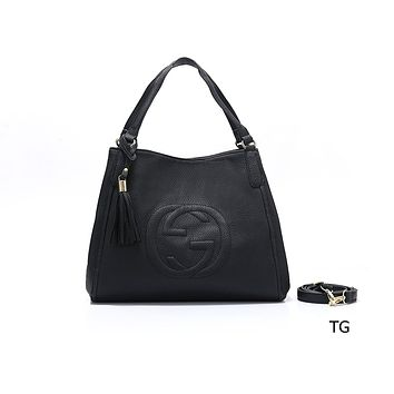 """GUCCI"" fashion female casual lychee embossed versatile messenger bag Black"