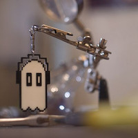 Undertale inspired Napstablook 8 bit pixel ghost key-chain