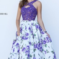 Beaded Printed Ball Gown by Sherri Hill