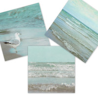 Mint Green Home Decor, 8x8 Beach Three Print Set, Seafoam Ocean Photography, Coastal Wall Art, Seashore Photos, Wave Art Collection, tbteam