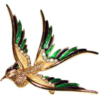 Sphinx England Rhinestone Mother of Pearl Enamel Figural Bird Brooch