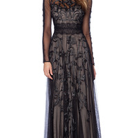 Marchesa Voyage Embroidered Long Sleeve Gown in Black
